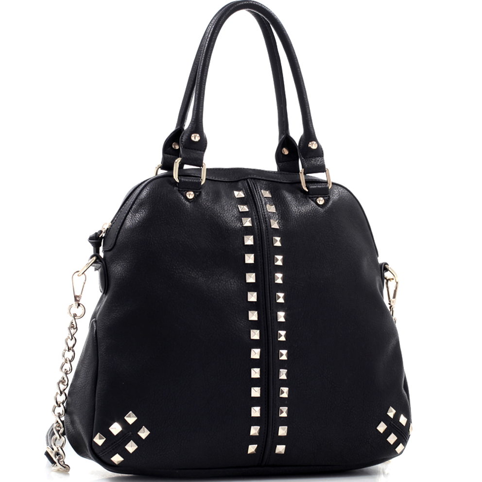 Studded Concealed Carry Faux Leather Chain Satchel Bag