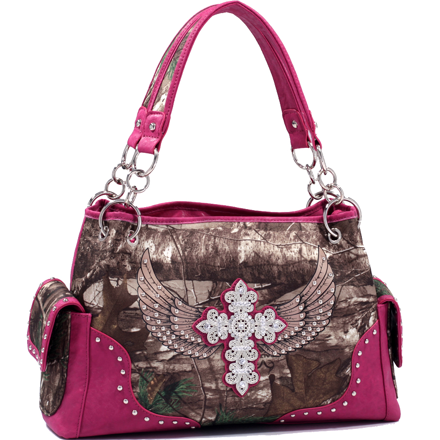 Realtree® Camo Embroidered Rhinestone Cross Concealed Carry Shoulder Bag