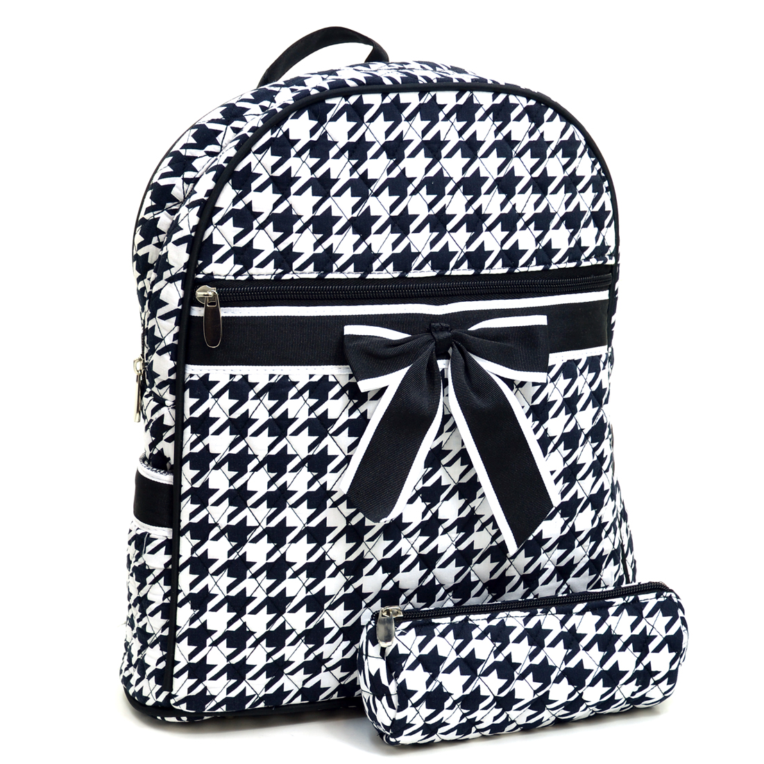 Houndstooth Backpack w/ Convertible Shoulder Straps - Black