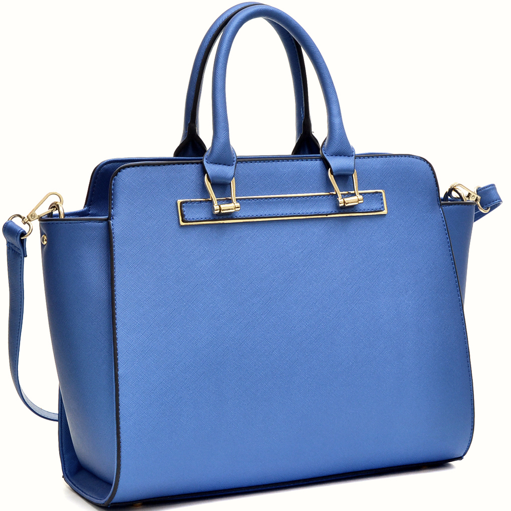 Dasein® Faux Saffiano Leather Winged Satchel with Shoulder Strap