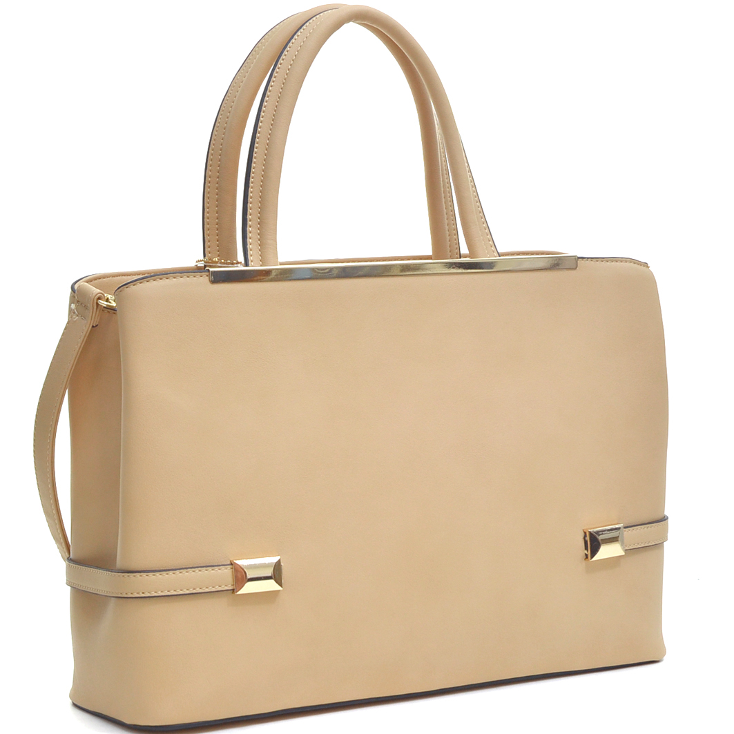 Dasein® Gold Tone Frame Faux Leather Tote with Shoulder Strap