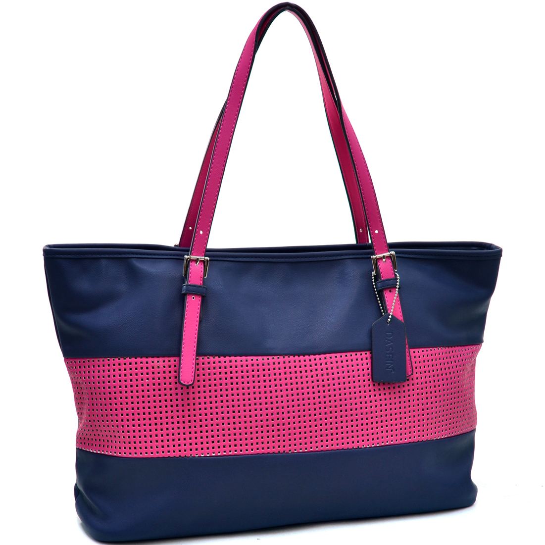 Dasein® Two Tone Mesh Panel Tote Bag