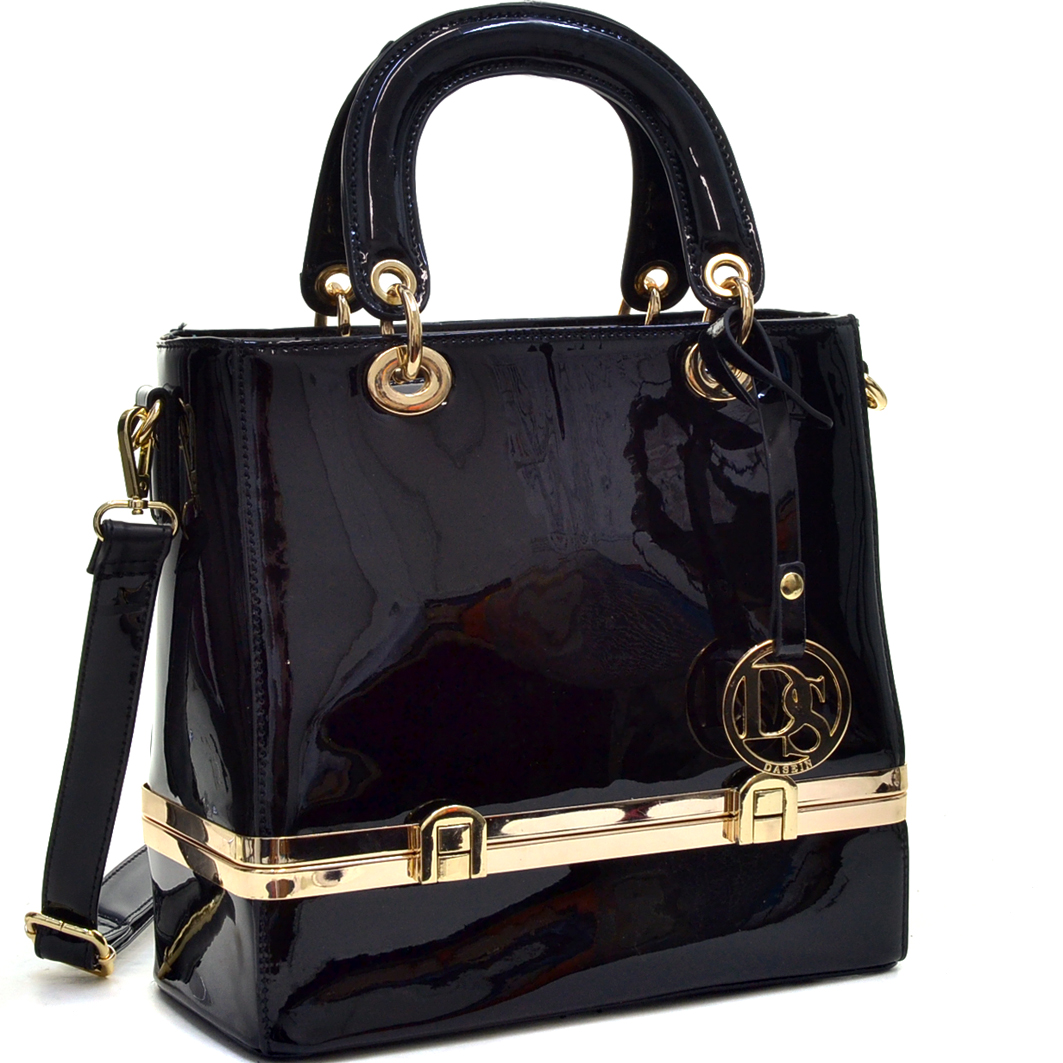 Patent Leather Satchel with Hidden Compartment