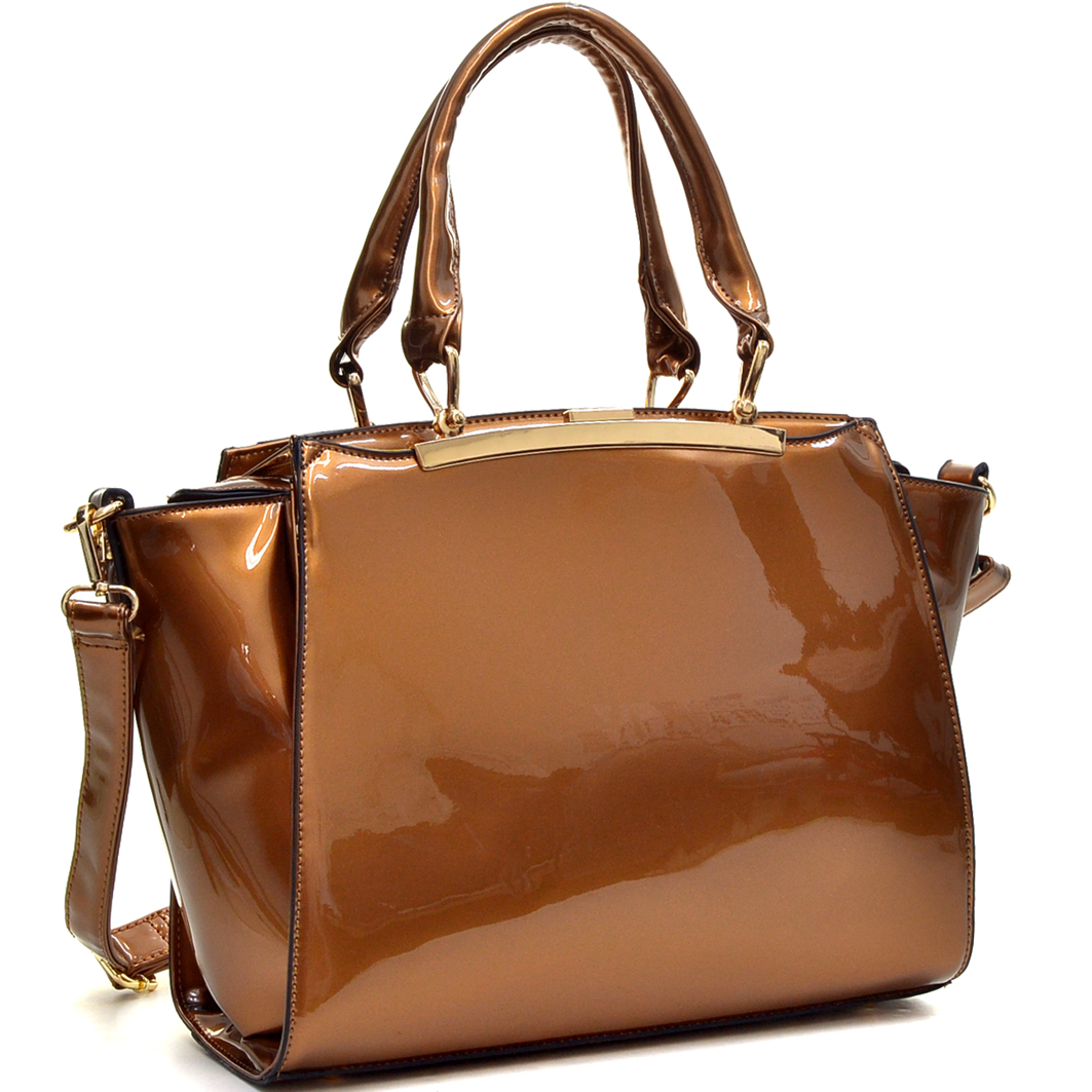 Dasein® Patent Leather Winged Satchel Hidden Side Pockets
