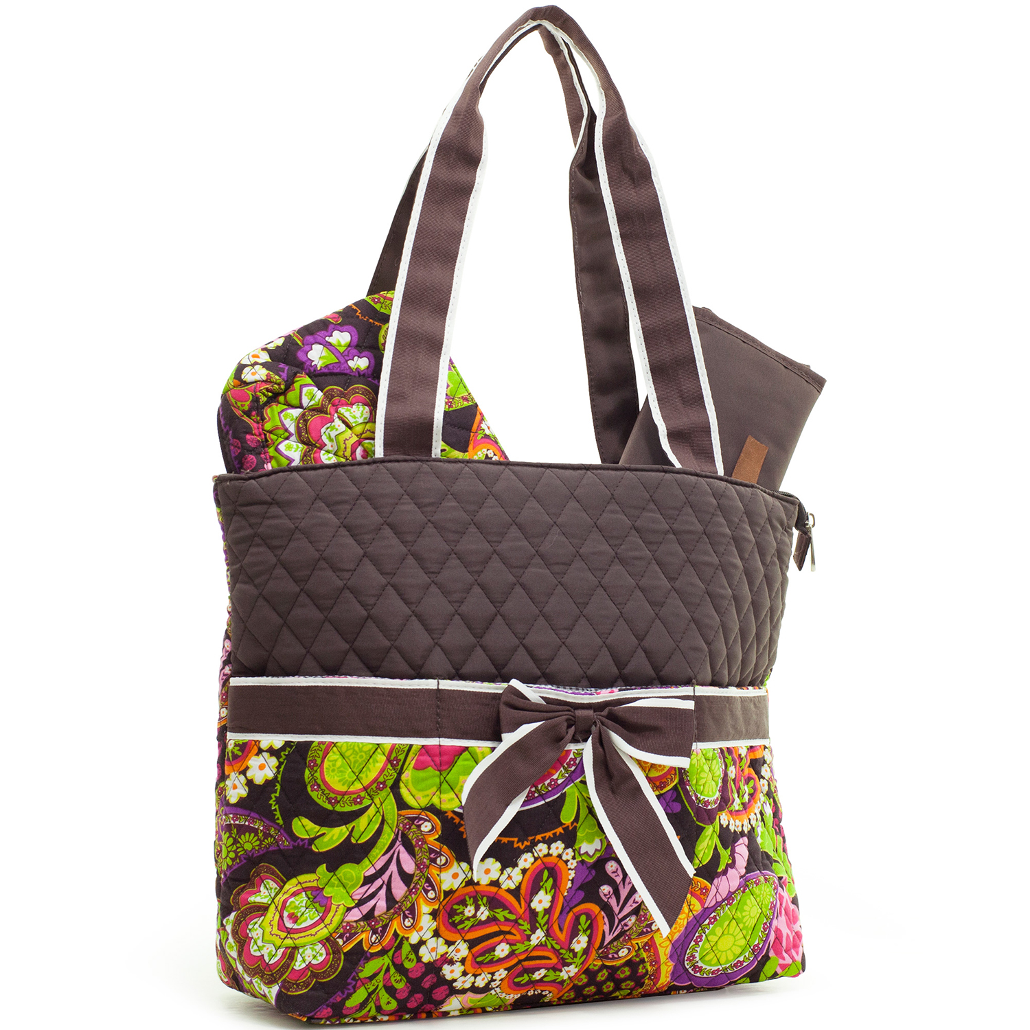 Quilted Paisley Floral Print Diaper Tote with Changing Mat