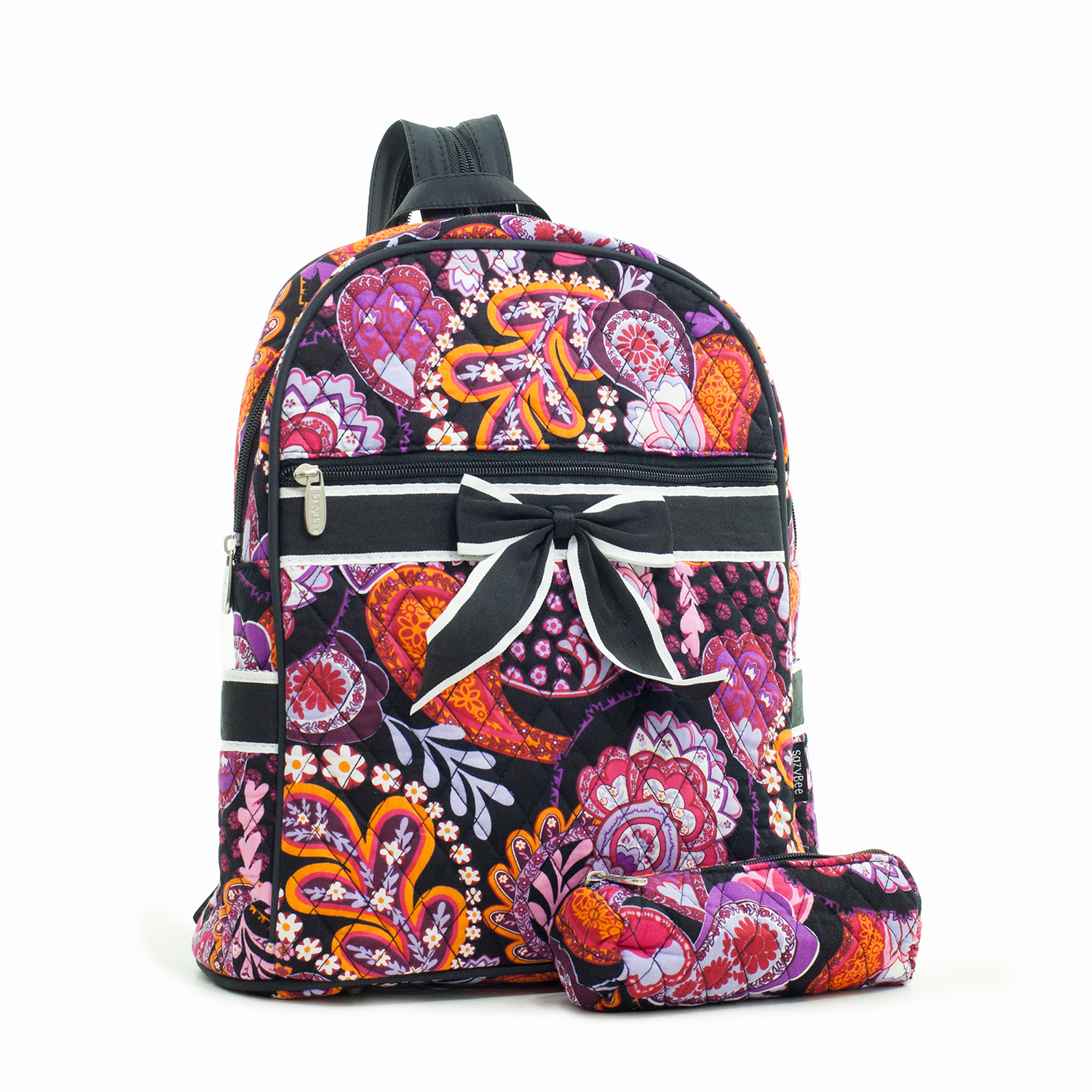 Quilted Paisley Floral Print Backpack with Convertible Straps