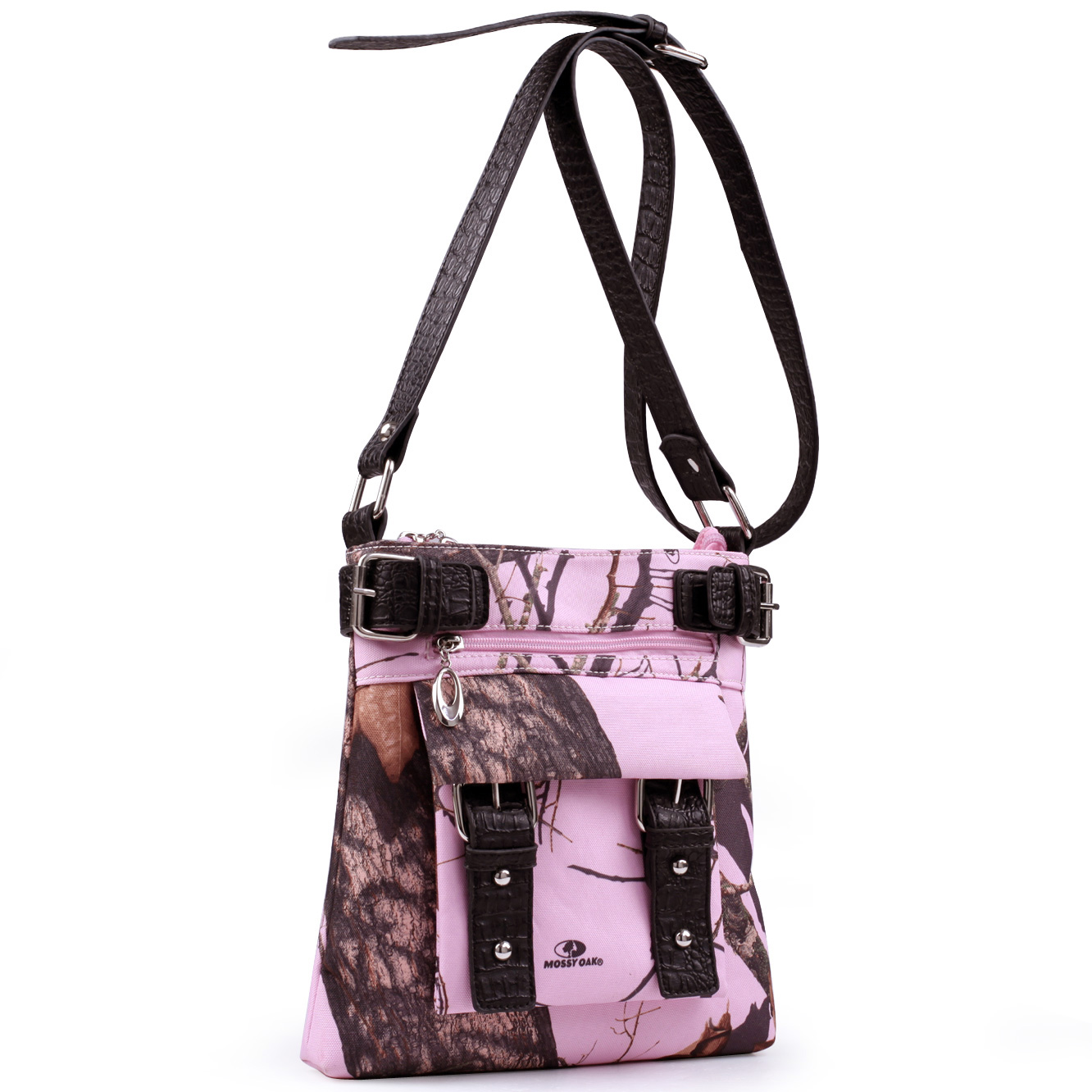 Mossy Oak® Camouflage Crossbody Bag With Belted Trim And Strap