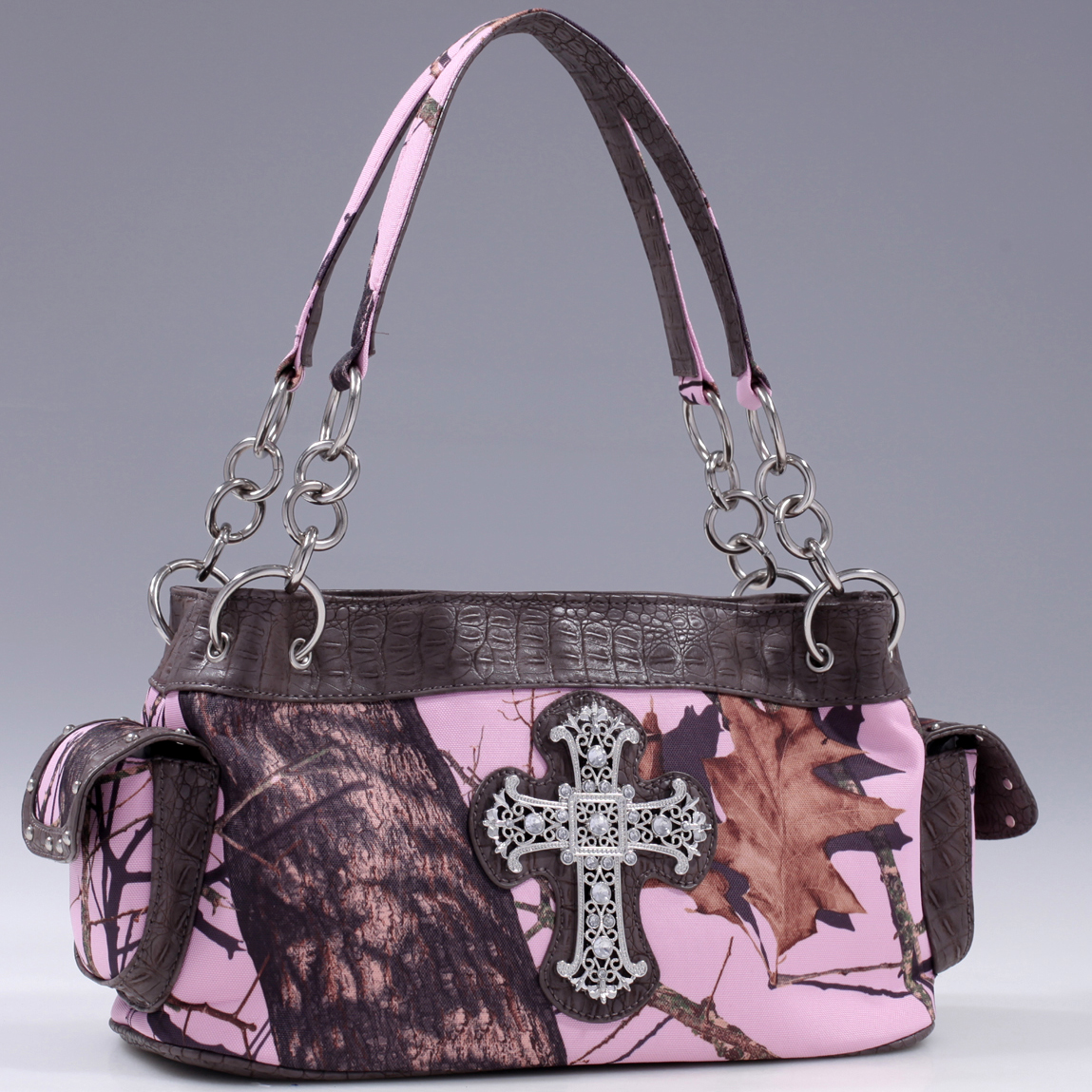 Mossy Oak® Arctic Camo Rhinestone Cross & Croco Rimmed Shoulder Bag