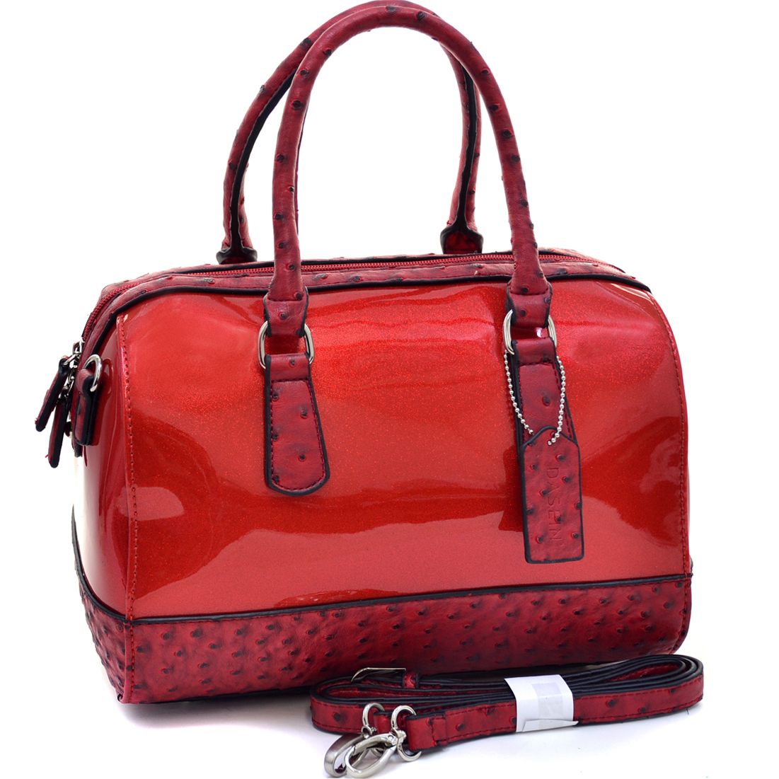 Dasein® Glossy Glitter Barrel Satchel With Ostrich Trim