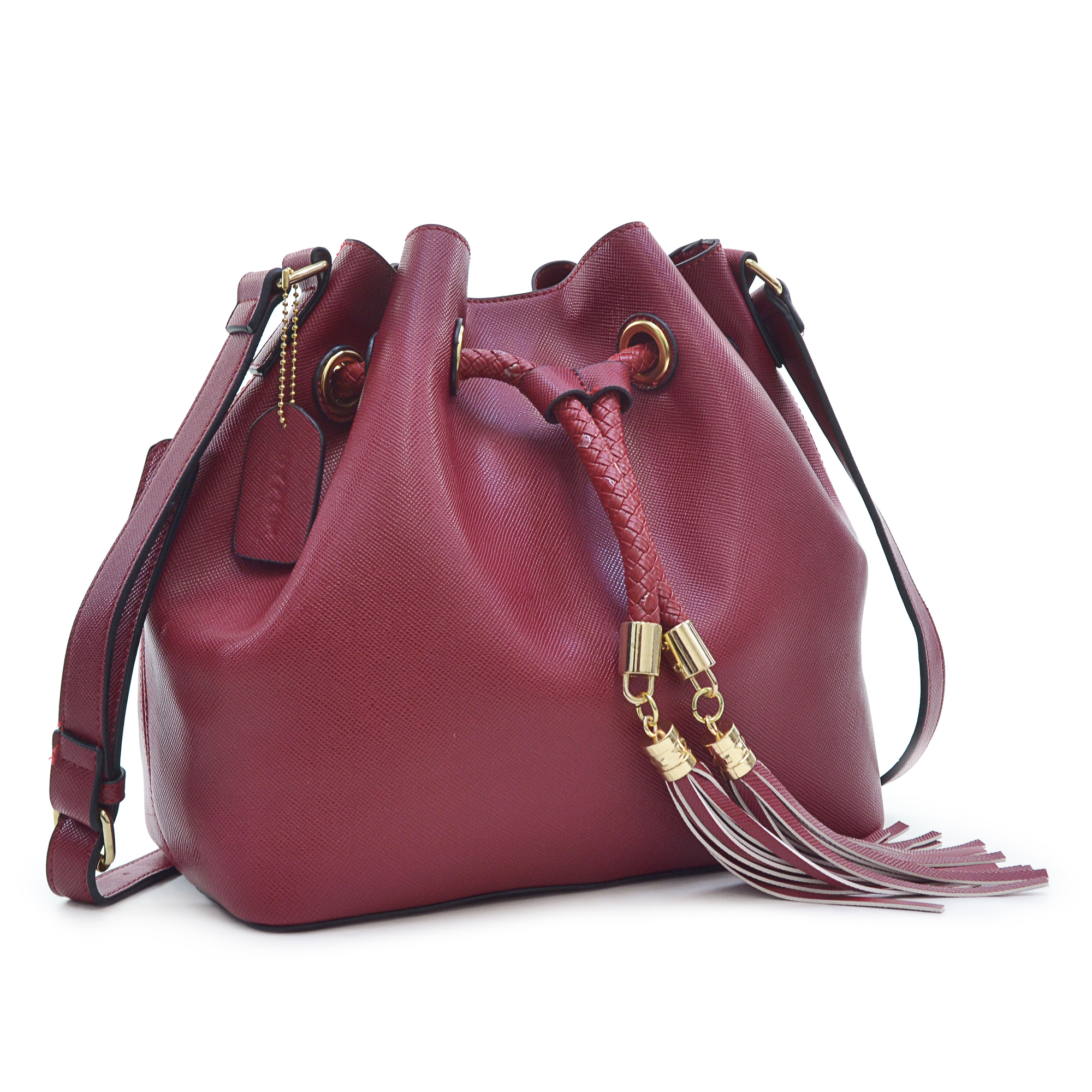 Dasein® Saffiano Faux Leather Bucket Bag