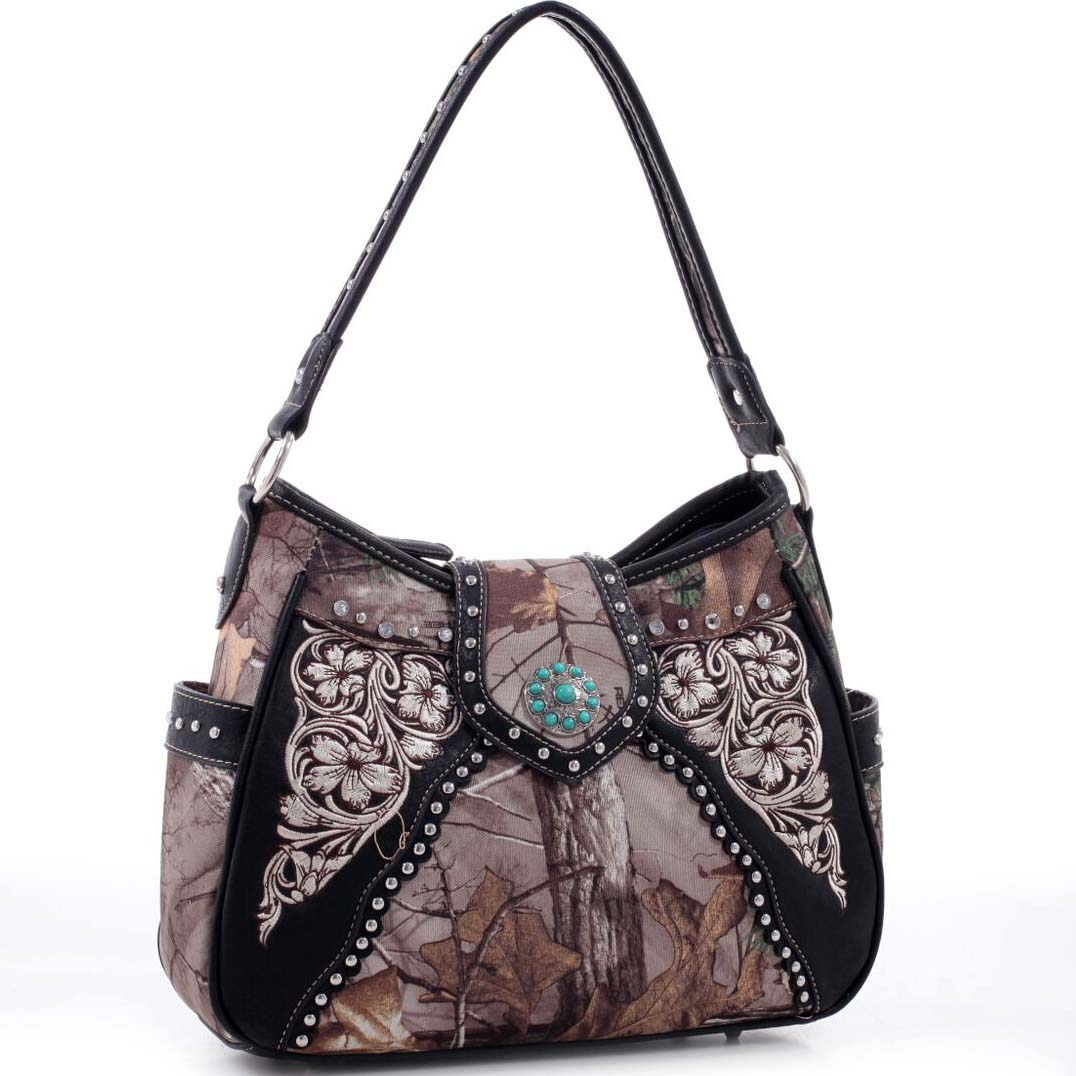 Realtree® Studded Floral Embroidered Hobo Bag with Turquoise Stone Concho
