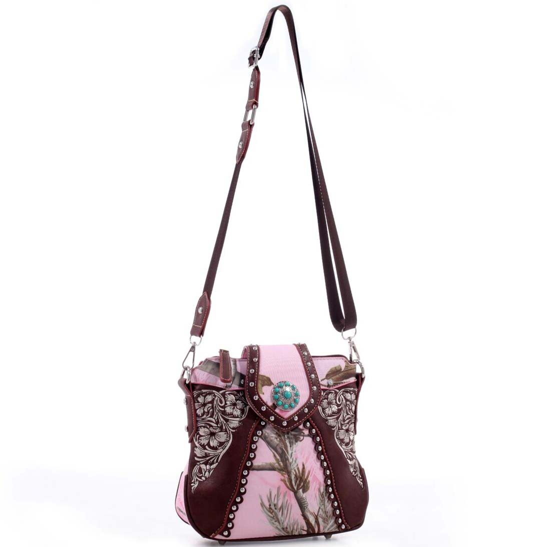 Realtree® Floral Embroidered  Concho Studded Messenger Bag