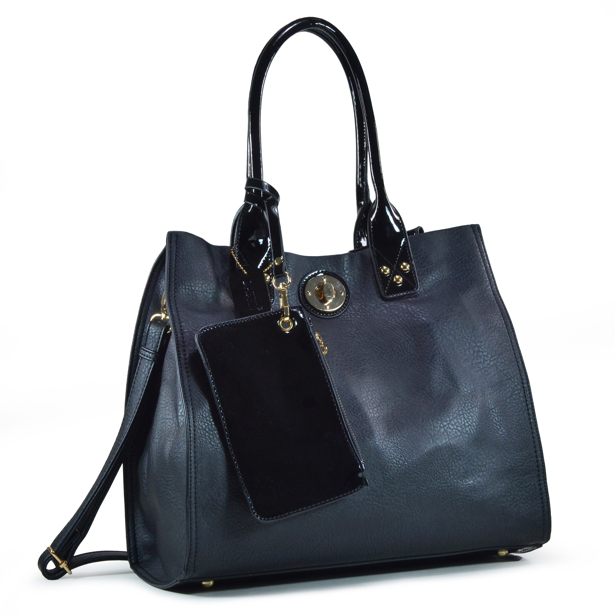 Dasein® 2-in-1 Satchel Bag with Patent Leather Trim
