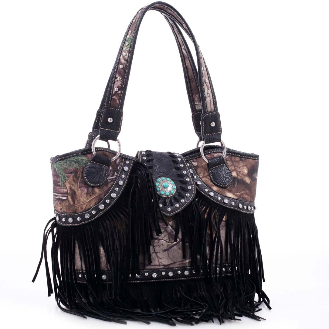 Realtree® Fringed Studded Camo Shoulder Bag