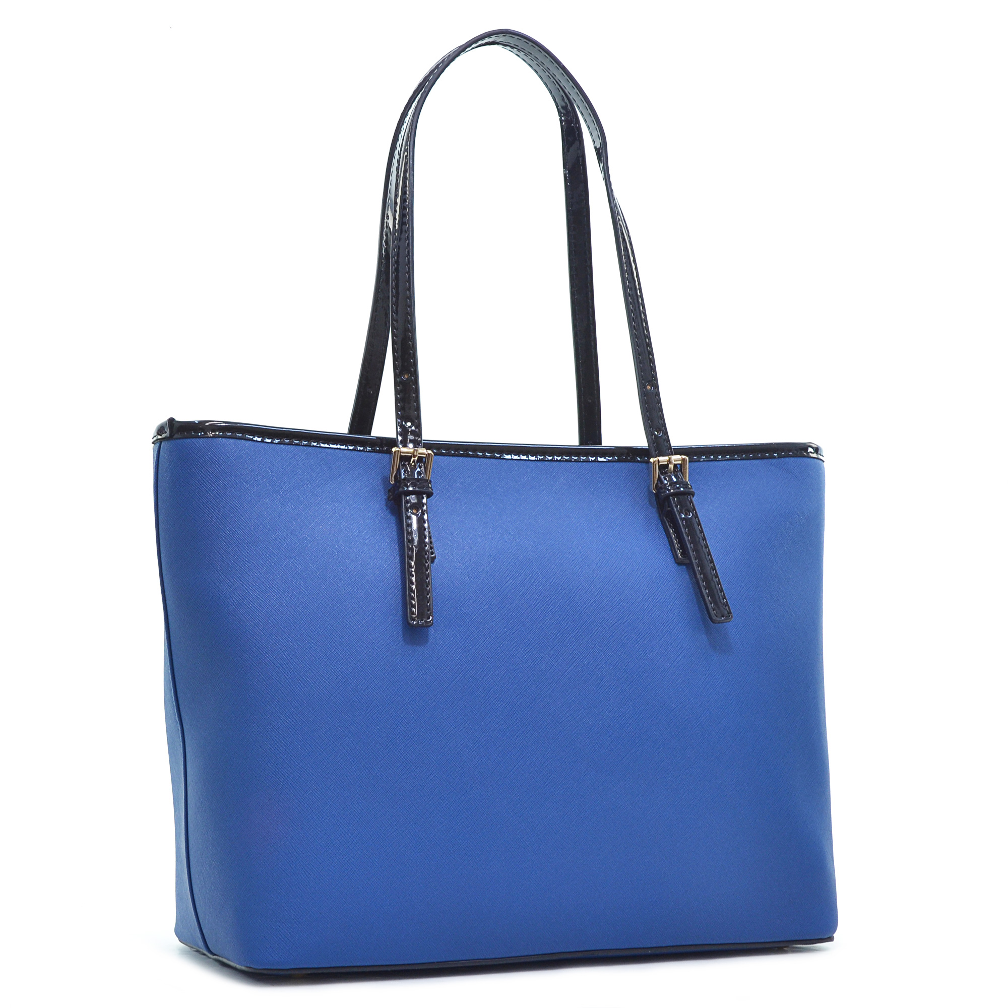Dasein® Saffiano Leather Patent Trim Tote Bag