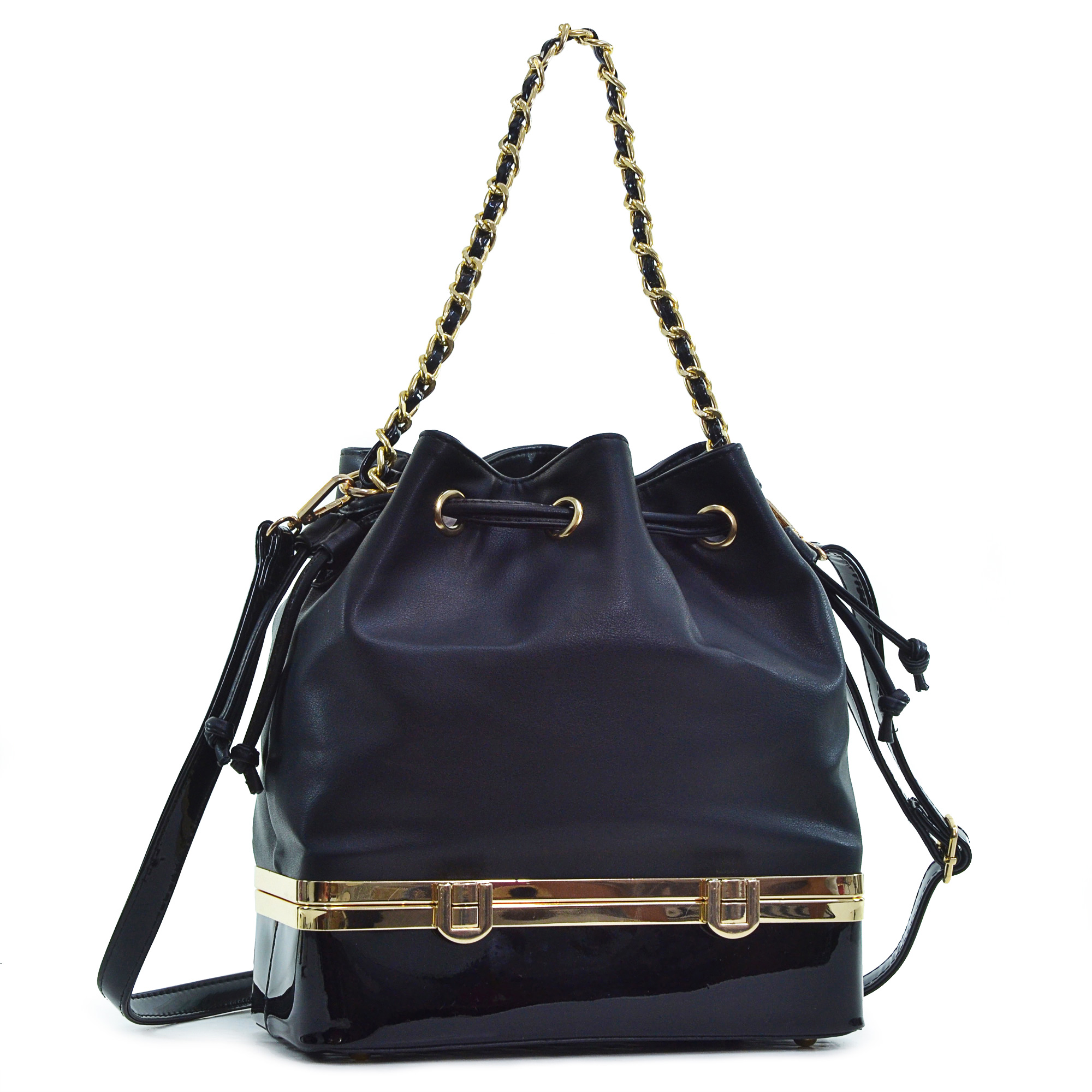 Dasein® Faux Leather Bucket Bag with Structured Bottom Compartment