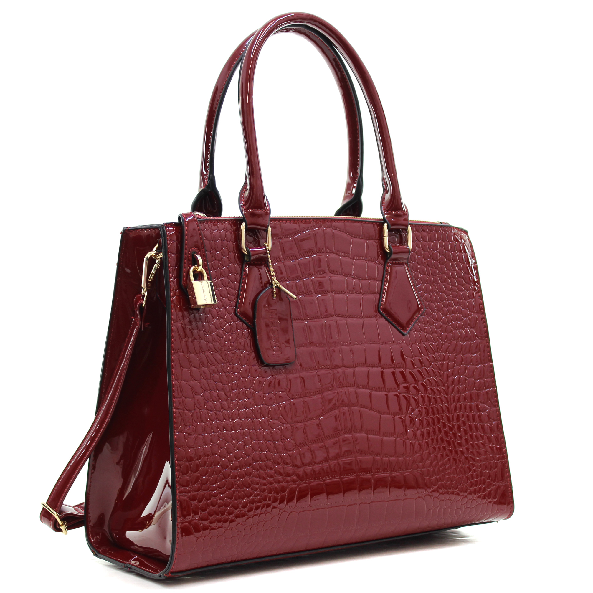Dasein® Patent Faux Leather Croco Embossed Chain Strap Satchel