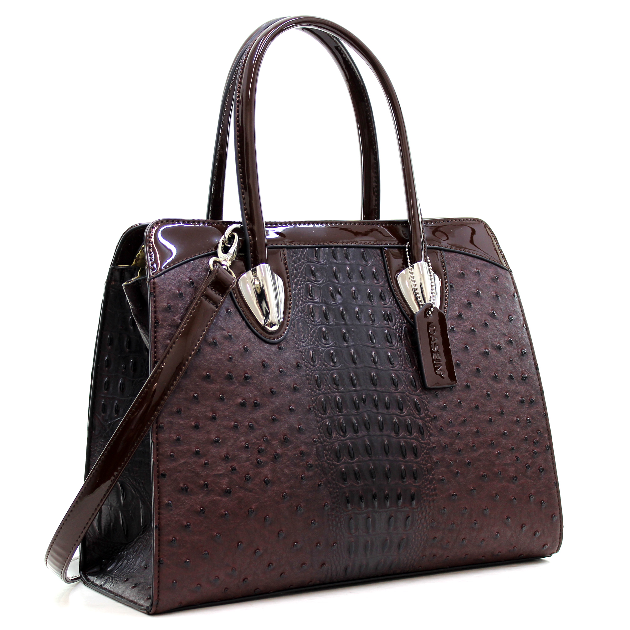Dasein® Ostrich Leather Satchel with Patent Leather Trim