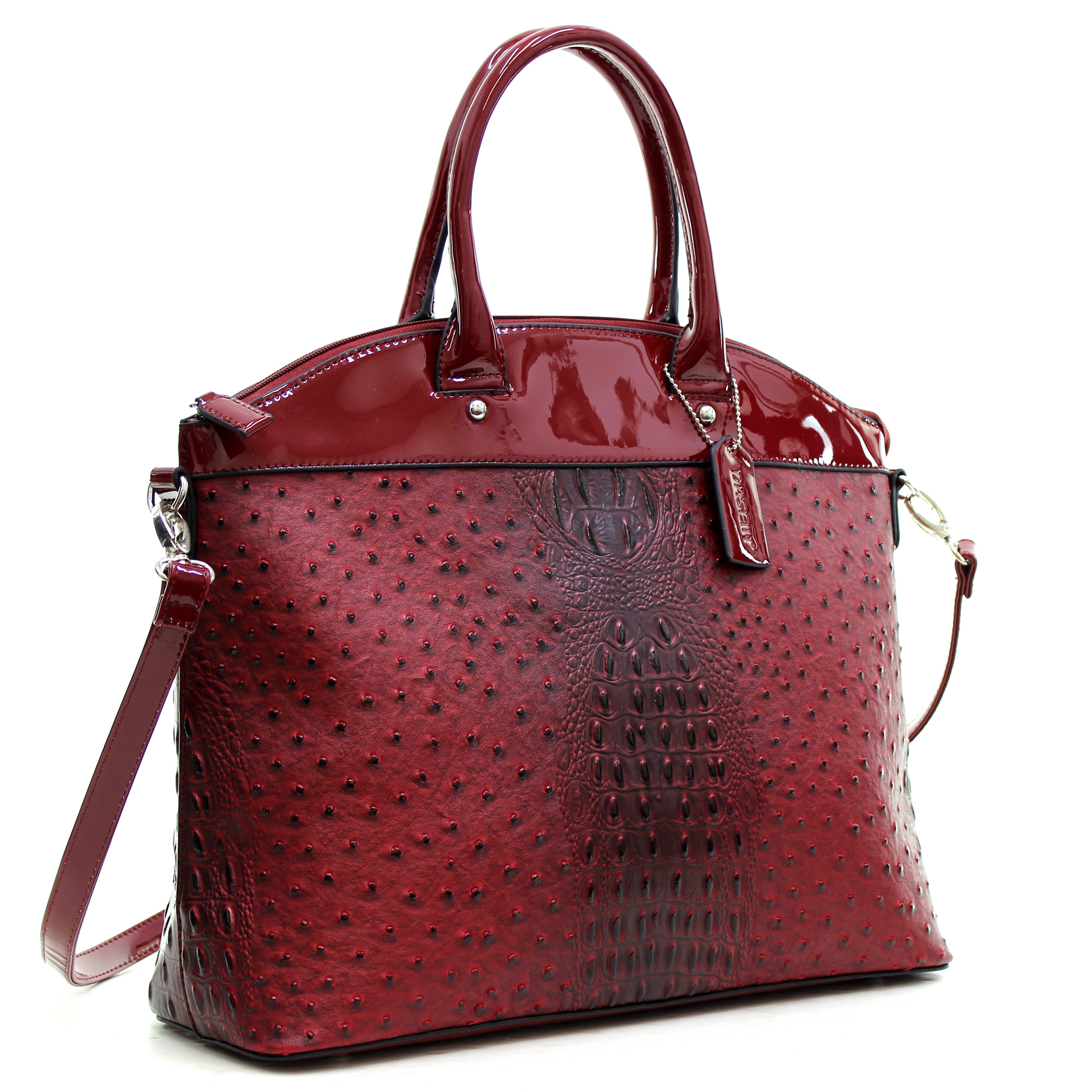 Dasein® Ostrich and Croco Fusion Large Satchel