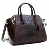 Dasein® Ostrich Faux Leather Weekender Satchel with Removable Strap