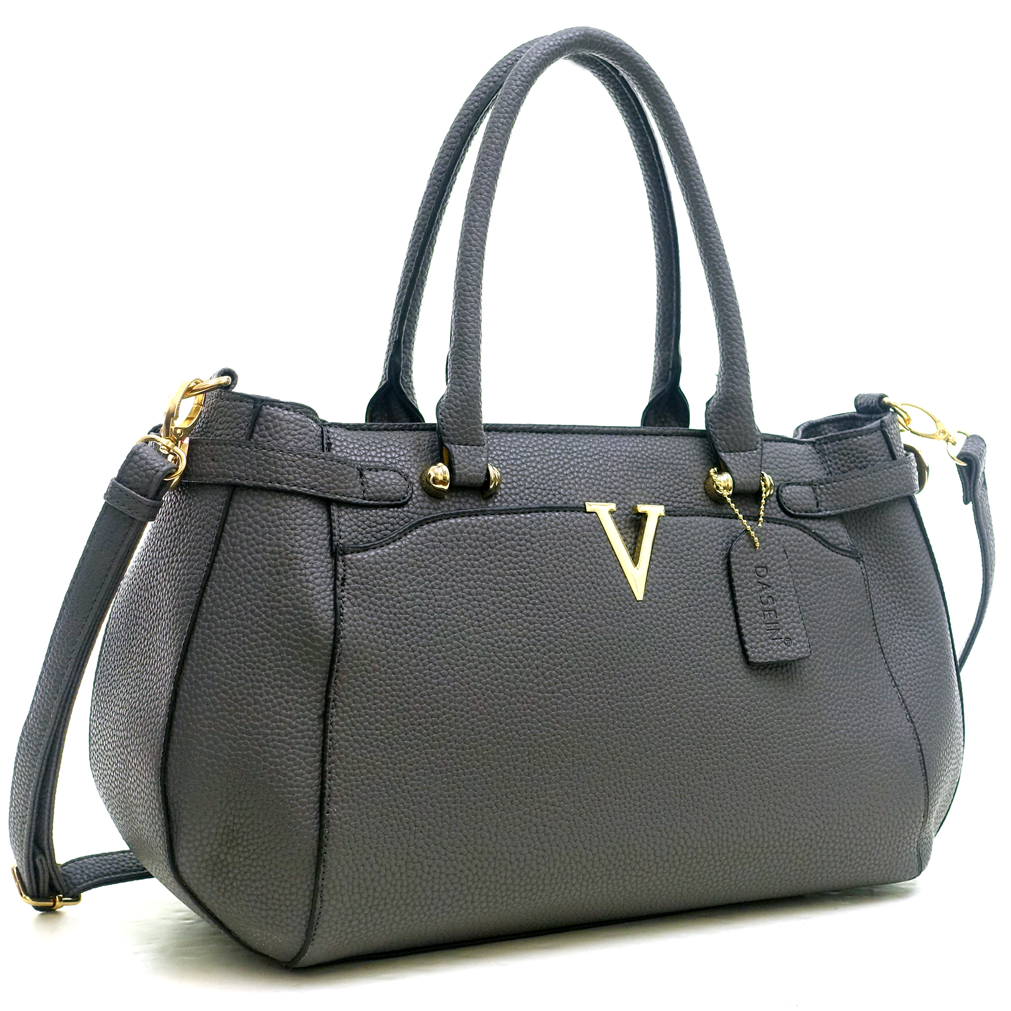 Patent Faux Leather V Shape Accent Satchel with Shoulder Strap