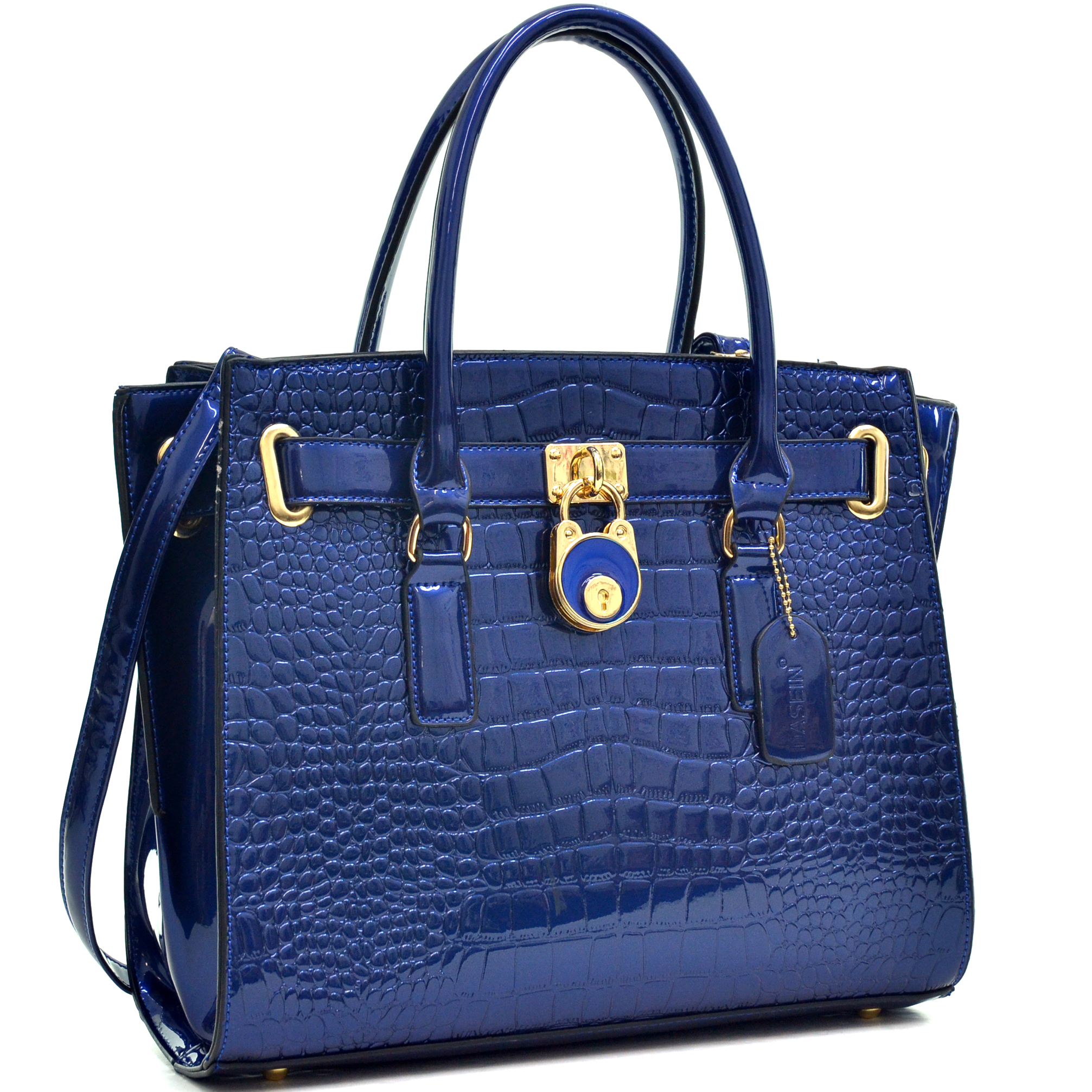 Dasein® Patent Croco Embossed Leather Belted Medium Tote Bag