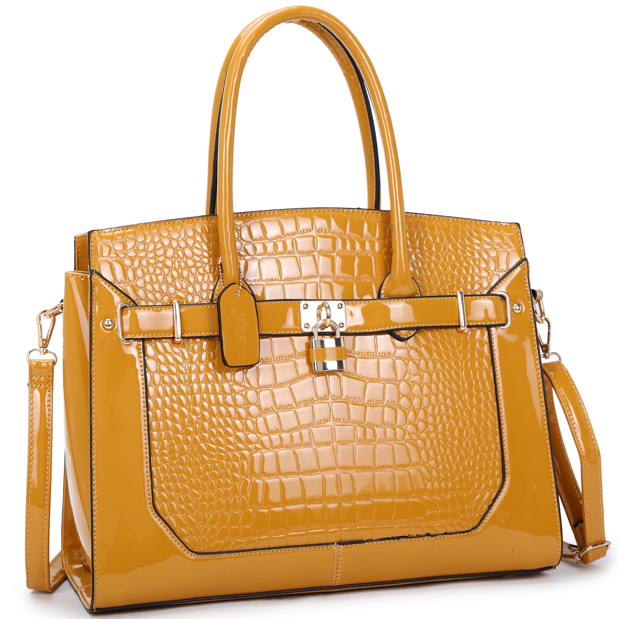 Patent Faux Croco Embossed Leather Padlock Large Satchel