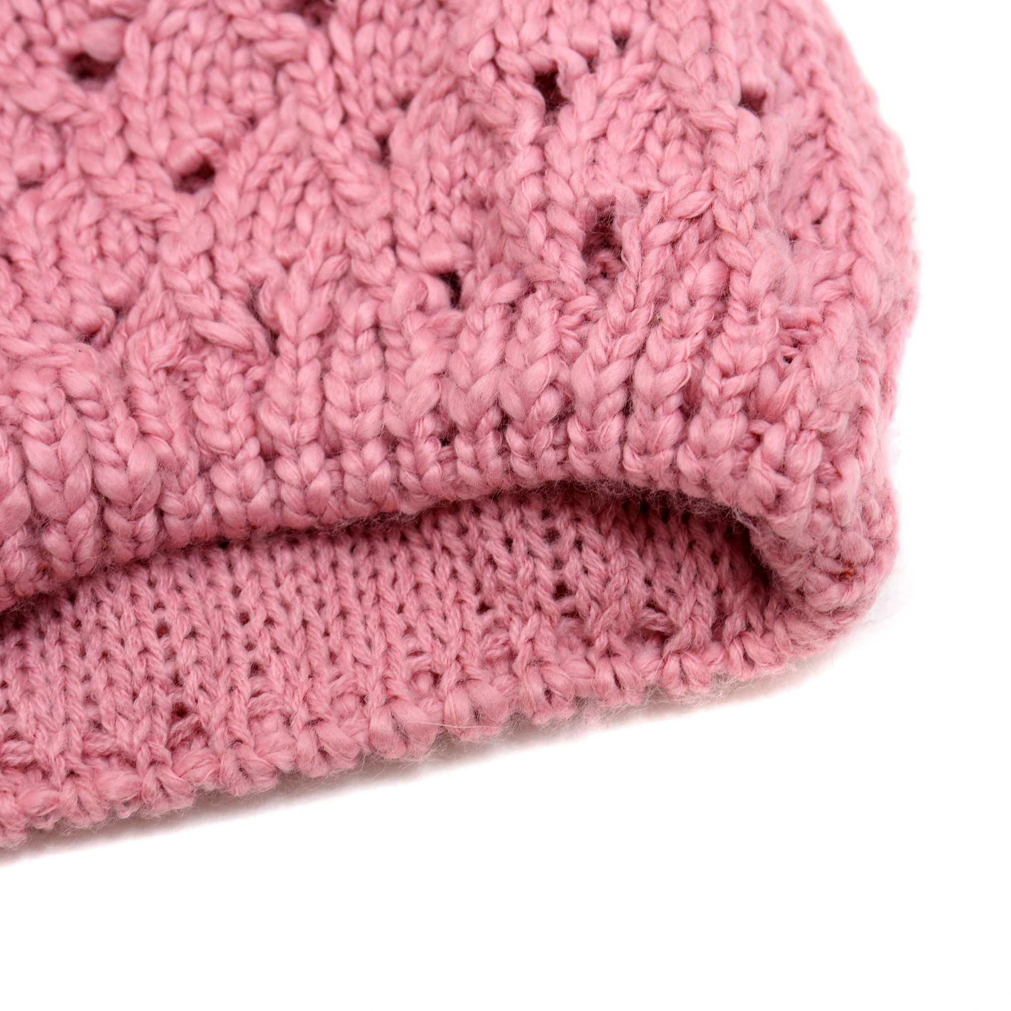 Pointelle Knit Beanie with Fur Pom Pom and Pleated Lining