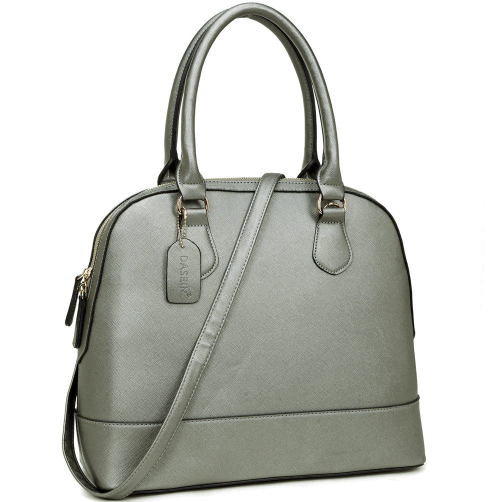 Dasein® Saffiano Faux Leather Dome Zip-Around Handbag