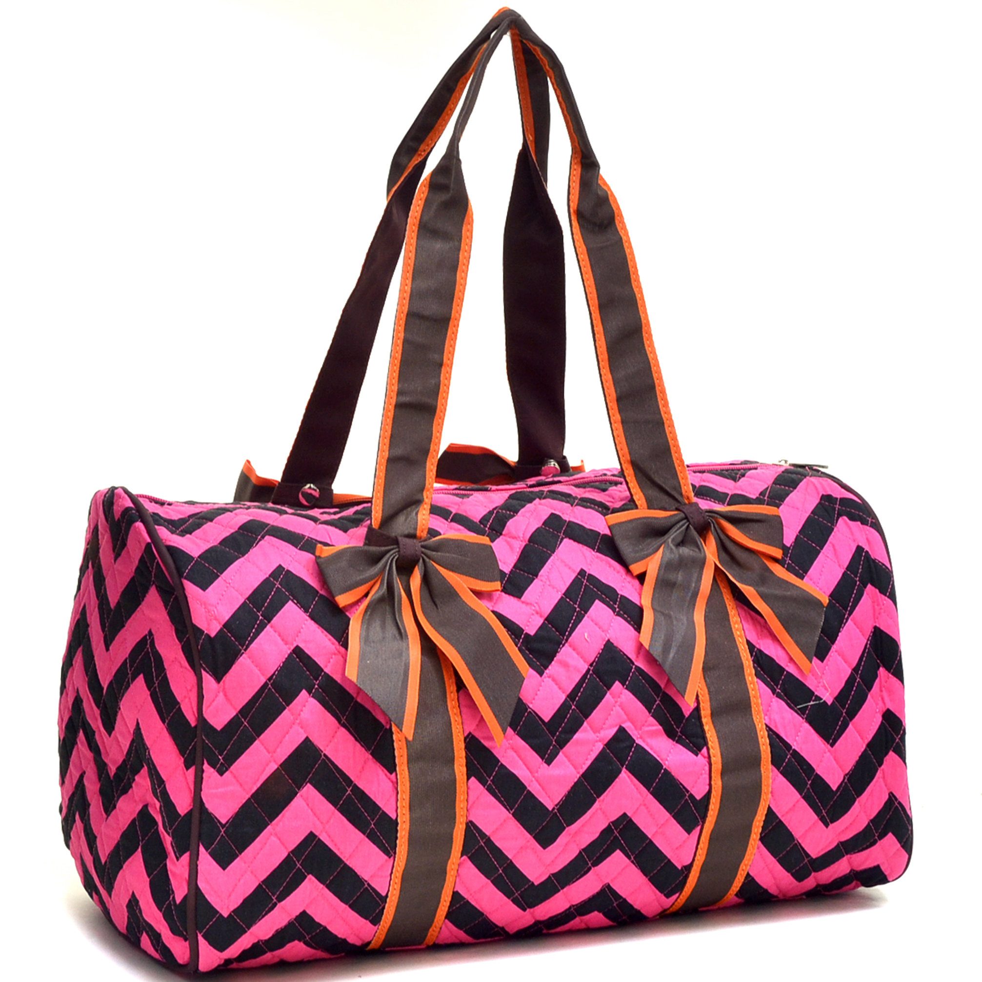 Quilted Chevron Duffel Bag With Removable Bows