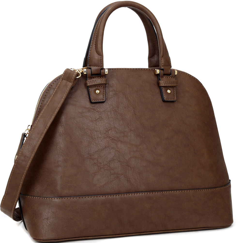 Dasein Dome Zip Around Satchel with Shoulder Strap