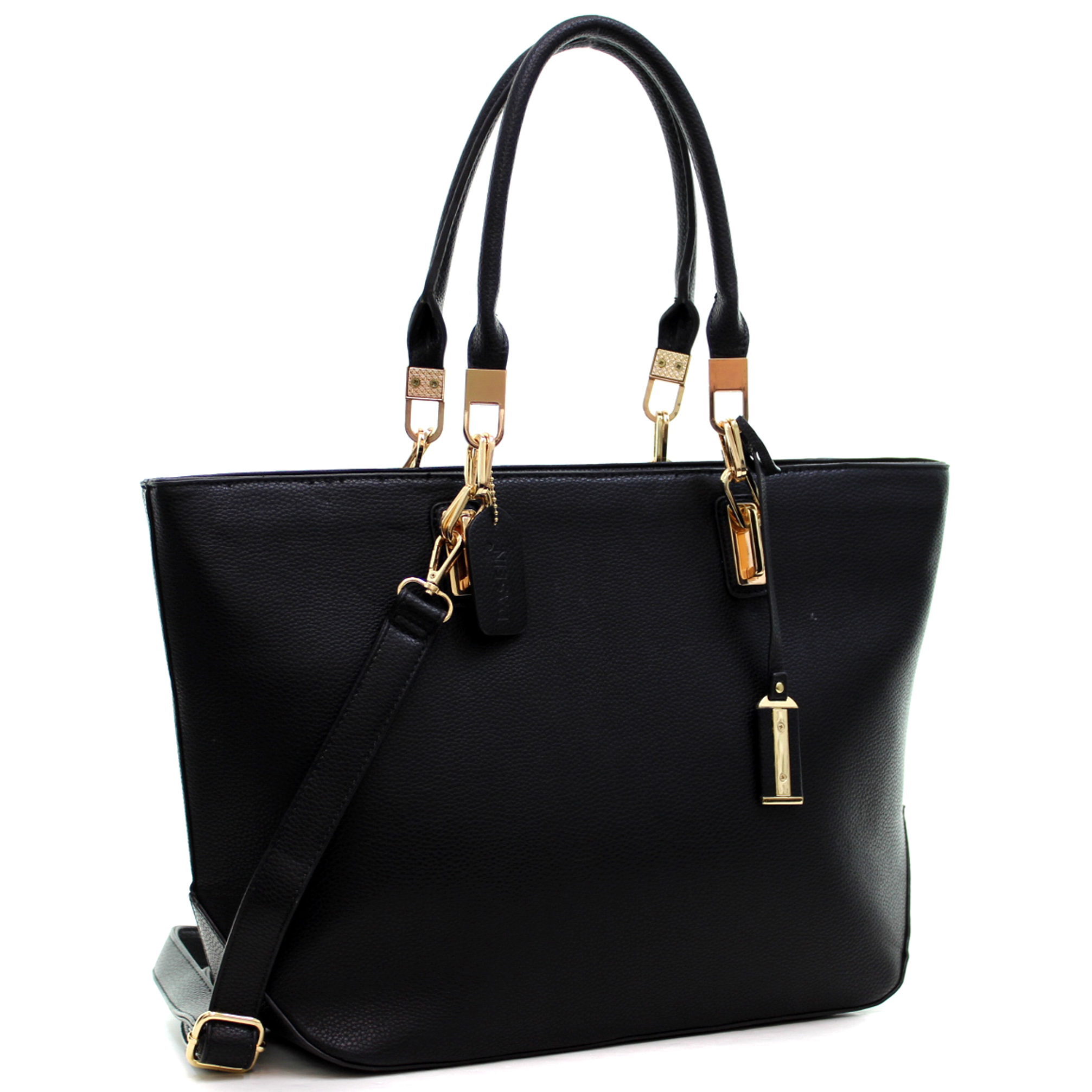 Dasein® Buffalo Leather Link Hinges Large Tote Bag