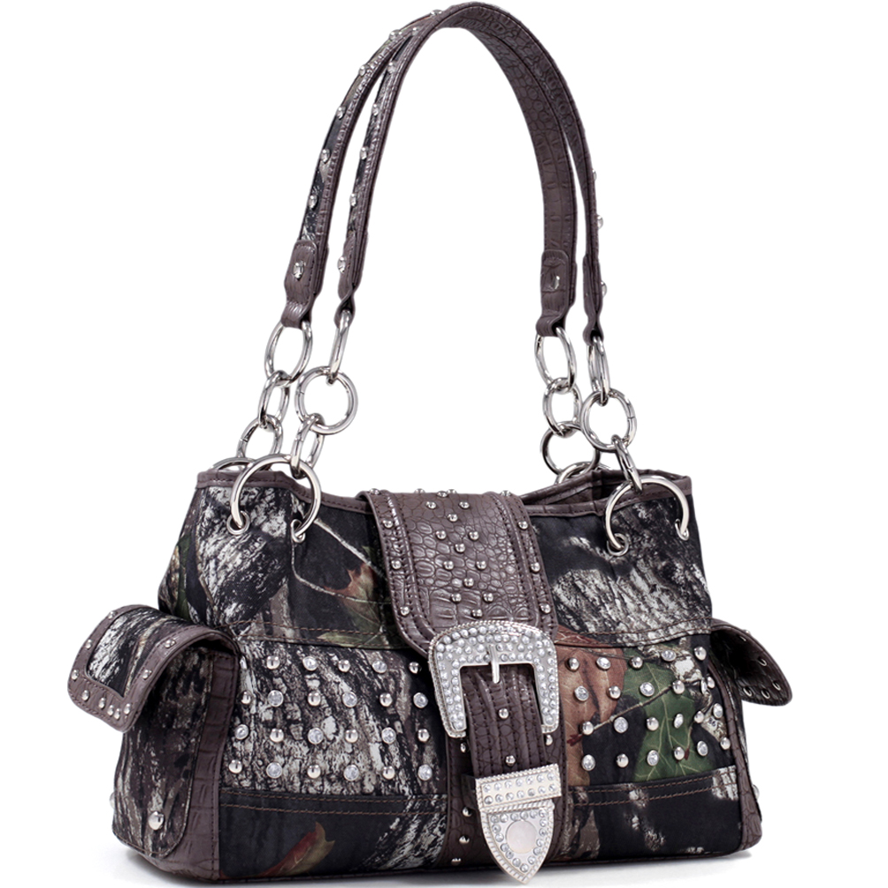 Mossy Oak® Camouflage Studded Buckle Accent Shoulder Bag