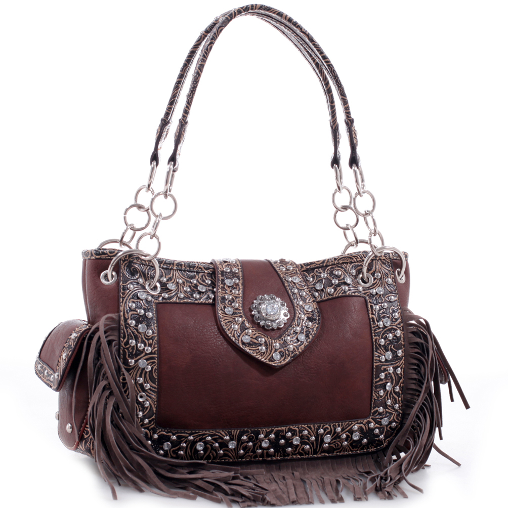 Realtree® Fringe Rhinestone Studded Leather Shoulder Bag