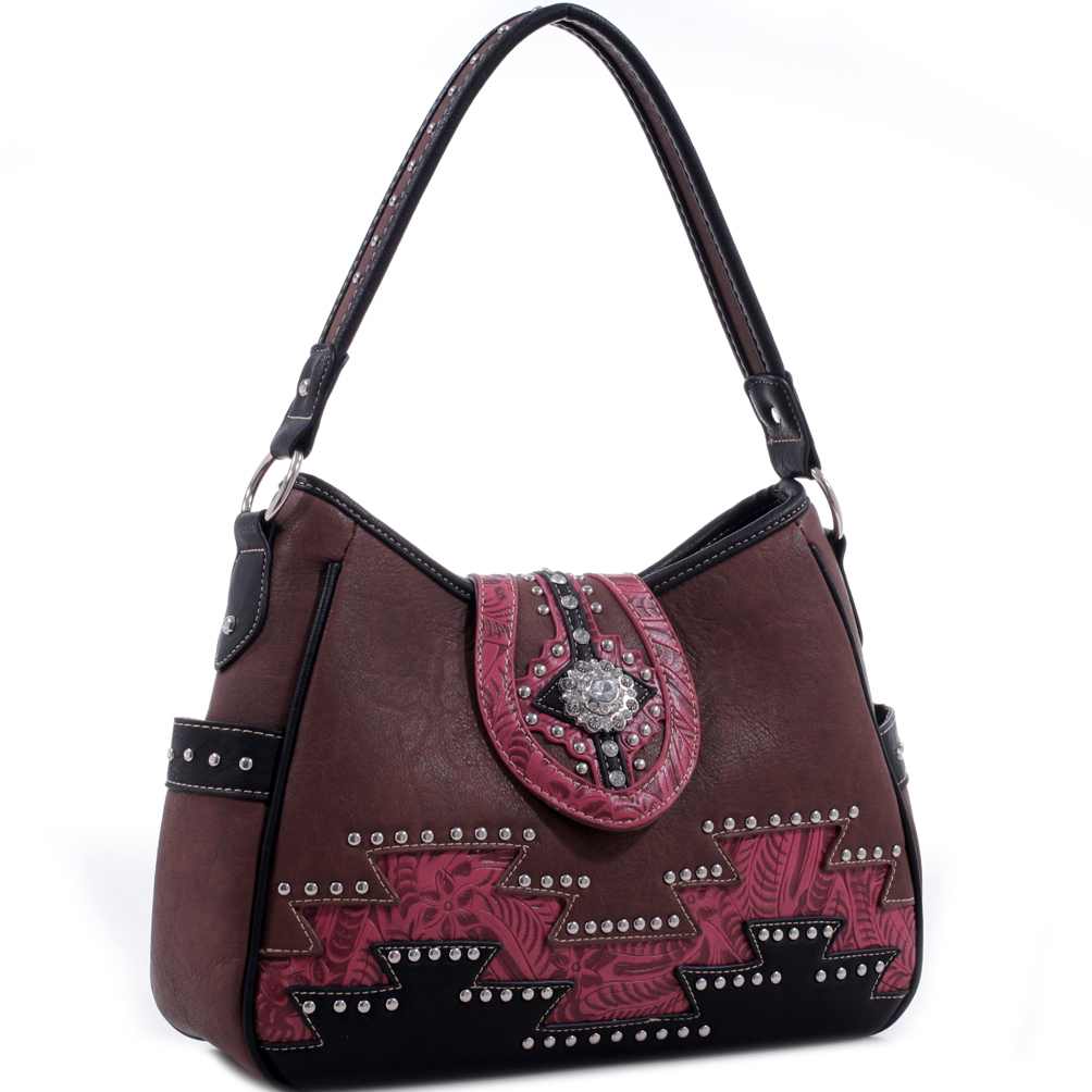 Realtree® Leather Studded Aztec Embroidered Hobo Bag