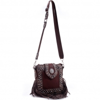 Realtree® Leather Rhinestone Concho Studded Messenger Bag