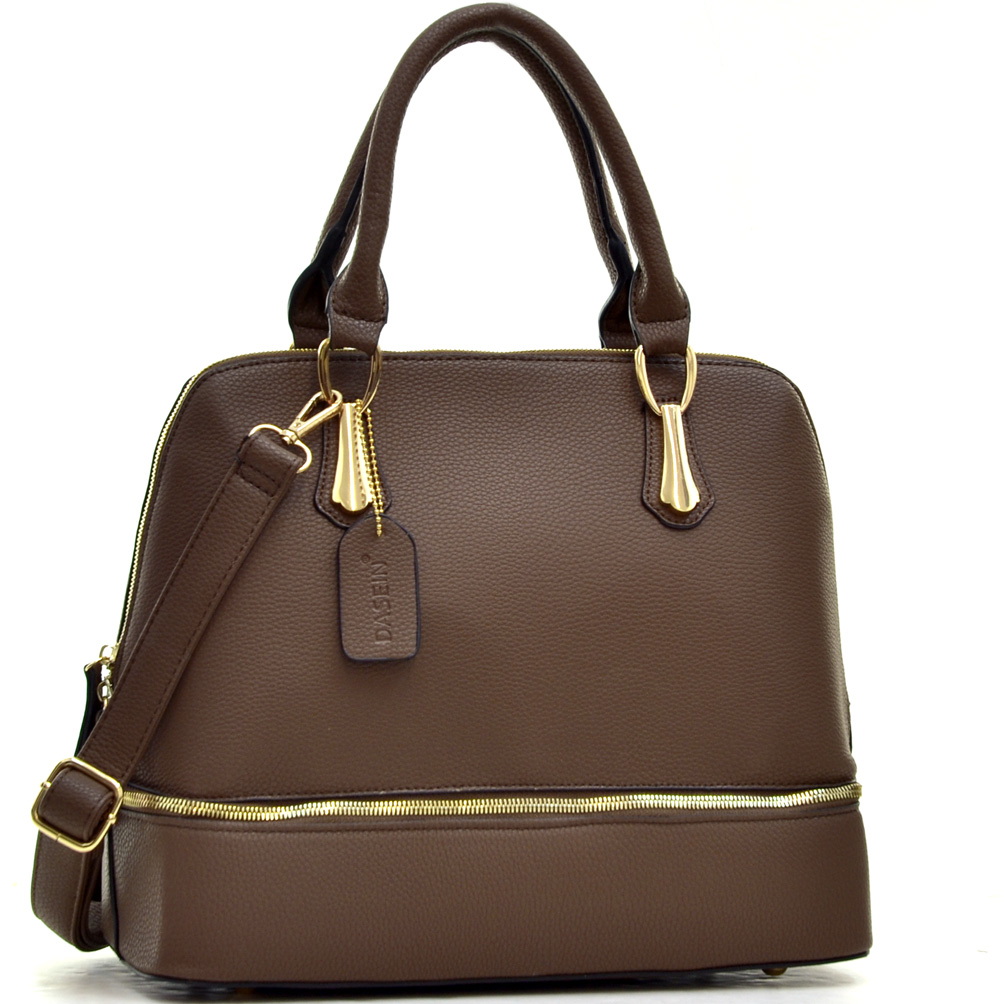 Dasein Gold-Tone Round Zipper Bottom Satchel