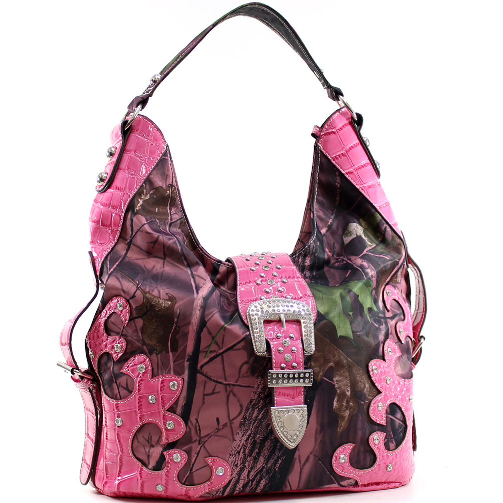 Nylon Camo Rhinestone Studded Buckle Hobo with Croco Patent Trim