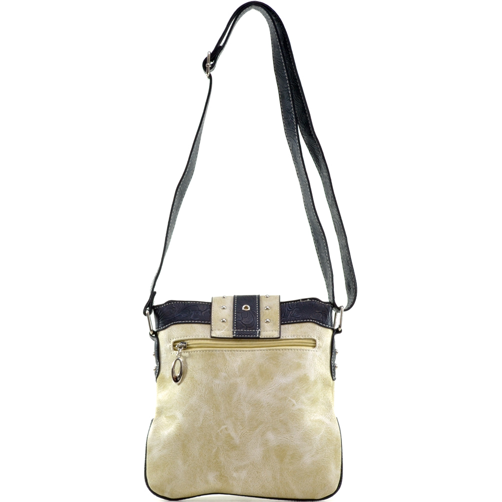 Faux Patent Rhinestone Buckle Messenger Bag with Croc Trim/Adjustable Shoulder Strap