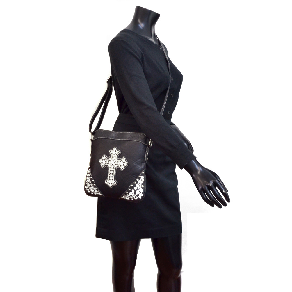 Faux Leather Rhinestone Studded Cross Shoulder Bag