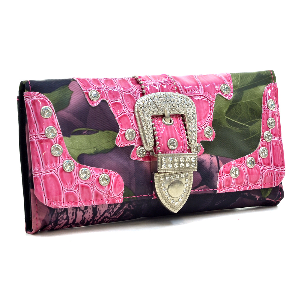 Faux Patent Leather Croc Trim with Rhinestone Buckle Tri-fold Wallet