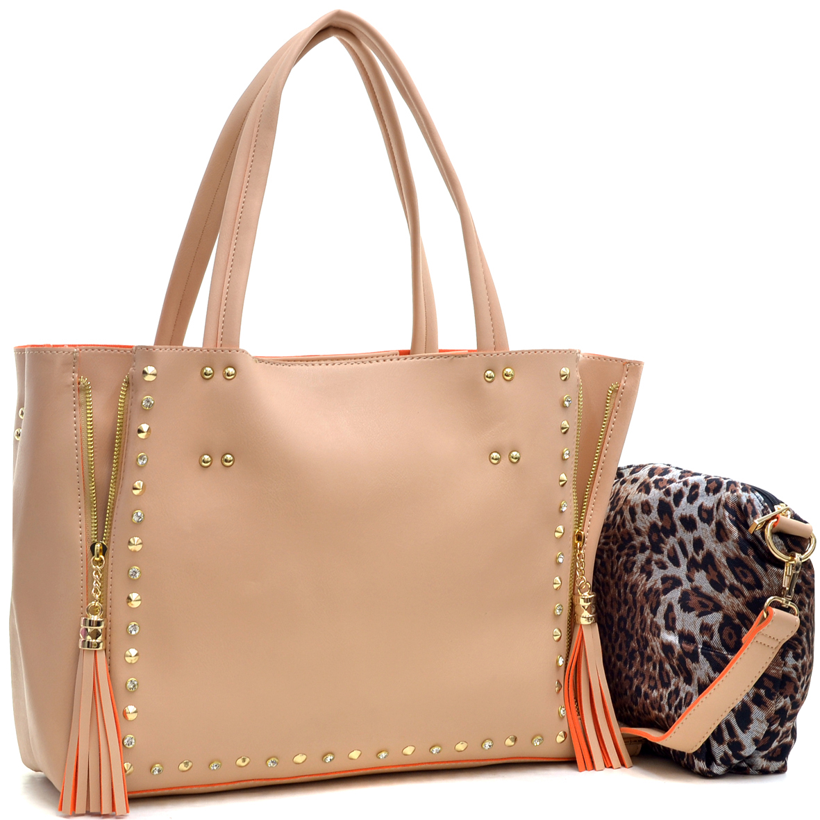 Faux Leather Studded 2-in-1 Tote Bag with Tassels
