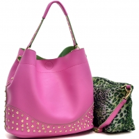 Faux Leather Studded 2-in-1 Hobo Bag