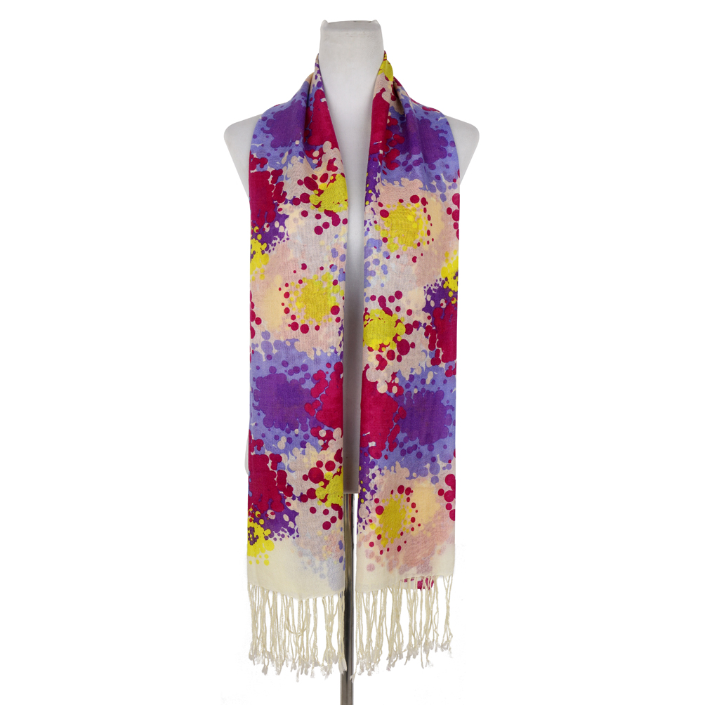 Flower Print Multi Color Free-End Wool Scarf