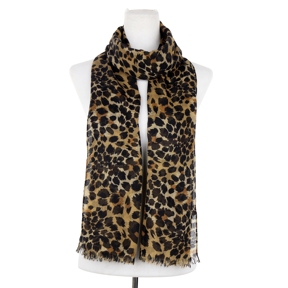 Leopard Print Free-End Woven Scarf