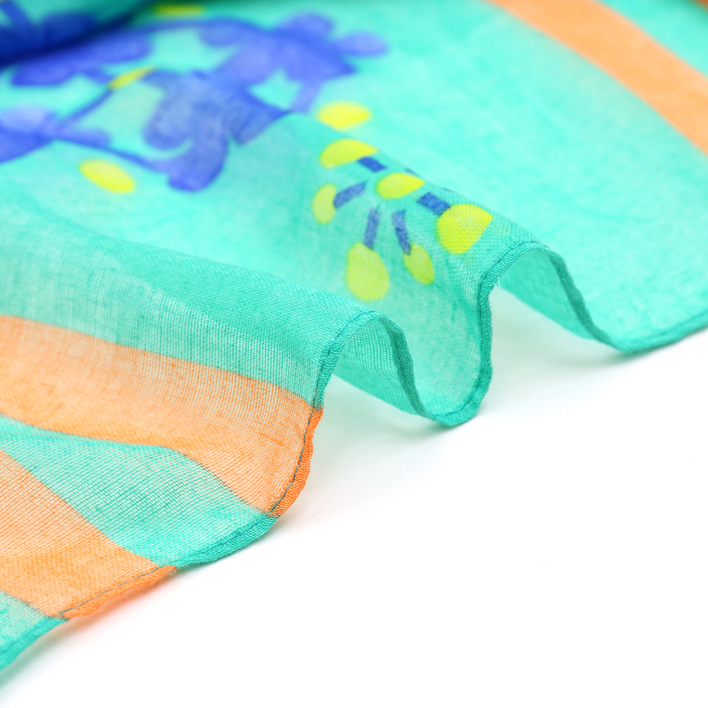 Multi Color Floral Print Woven Free Scarf