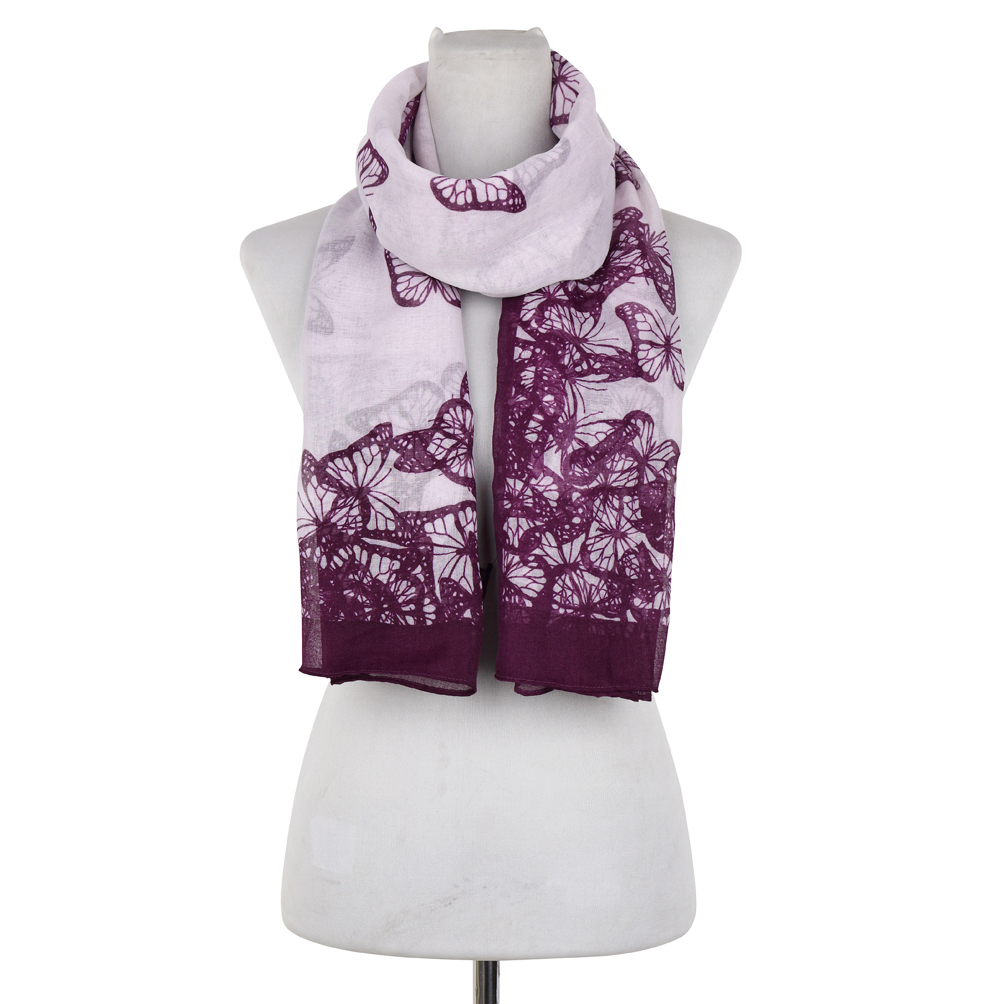 Butterfly Print Woven Free End Scarf