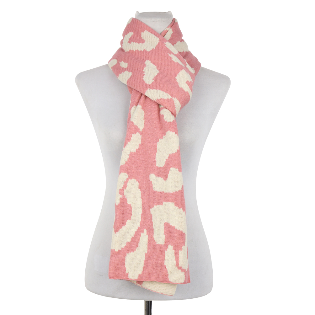 Double Sided Leopard Print Jacquard Scarf