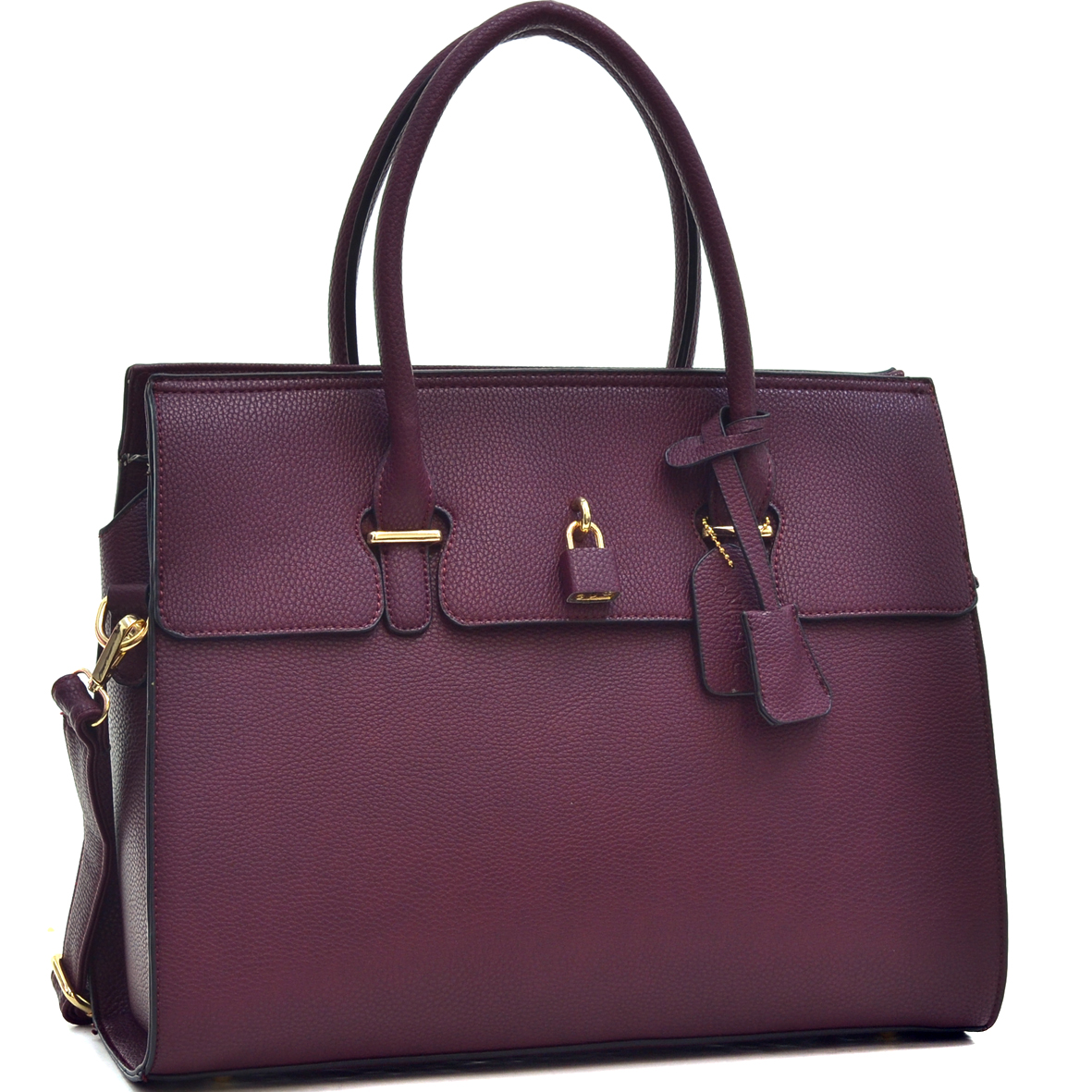 Faux Leather Satchel with Lock and Magnetic Snap Extension