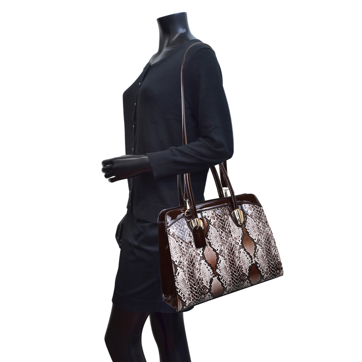 Dasein® Patent Leather Shoulder Bag with Snakeskin Detail